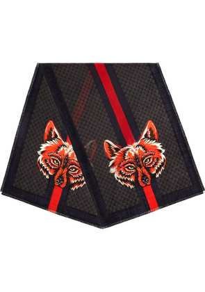 Gucci GG wool stole with wolf - Black