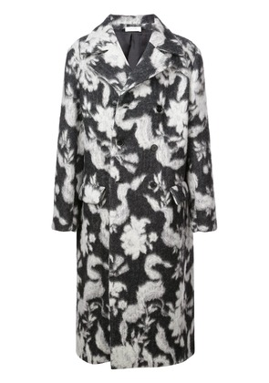 Jil Sander long floral pattern coat - Grey