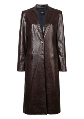 Theory varnished leather coat - Brown