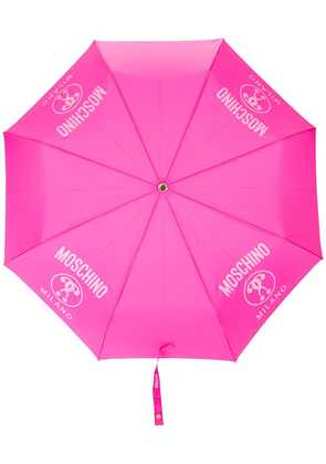 Moschino logo print foldable umbrella - Pink