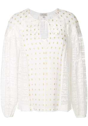 Temperley London lace panelled top with gold flecks - White