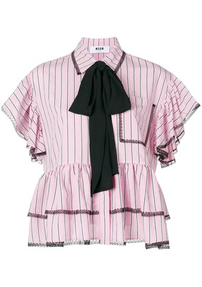 MSGM contrast bow shirt - Pink