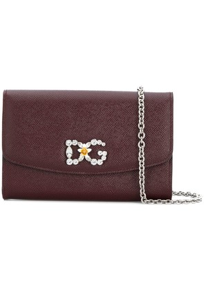 Dolce & Gabbana logo embellished crossbody bag - Red
