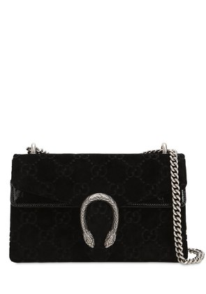 SMALL DIONYSUS LOGO VELVET SHOULDER BAG