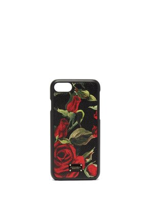 Dolce & Gabbana - Rose Print Leather Iphone® Case - Womens - Black Red