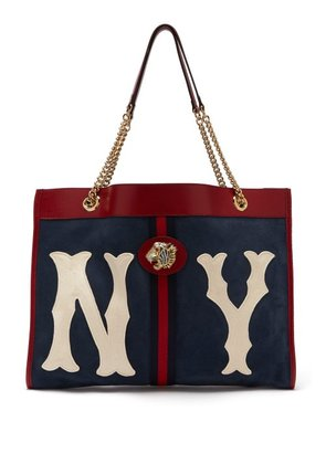 Gucci - Rajah Ny Yankees Patch Suede Bag - Womens - Navy White