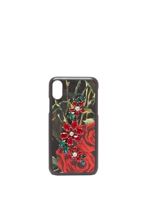 Dolce & Gabbana - Crystal Embellished Rose Print Iphone® X Case - Womens - Black Red