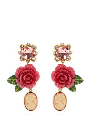Dolce & Gabbana - Rose And Crystal Drop Clip On Earrings - Womens - Pink