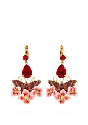 Dolce & Gabbana - Butterfly And Crystal Drop Clip On Earrings - Womens - Multi