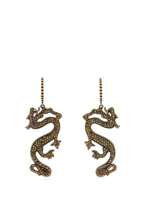 Valentino - Dragon Crystal Embellished Earrings - Womens - Gold