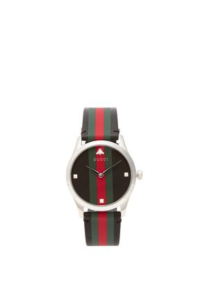 Gucci - G Timeless Web Striped Leather Watch - Mens - Black Silver