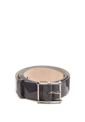 Valentino - Studded Buckle Leather Camo Belt - Mens - Black