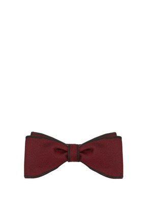 Title Of Work - Contrast Edge Silk Piqué Bow Tie - Mens - Red