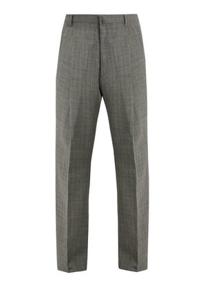 Lanvin - Wide Leg Checked Wool Trousers - Mens - Grey