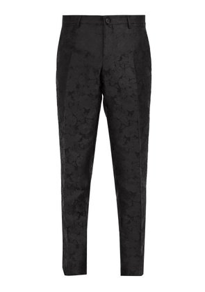 Dolce & Gabbana - Tailored Floral Jacquard Silk Trousers - Mens - Black