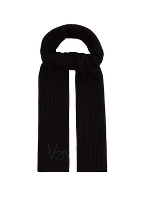 Versace - Logo Embroidered Ribbed Knit Wool Scarf - Mens - Black