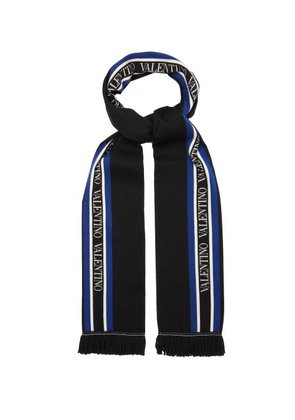 Valentino - Logo Intarsia Wool And Silk Blend Scarf - Mens - Black