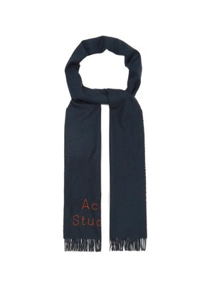 Acne Studios - Logo Embroidered Fringed Wool Scarf - Mens - Navy