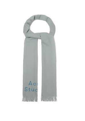 Acne Studios - Logo Embroidered Fringed Wool Scarf - Mens - Light Grey