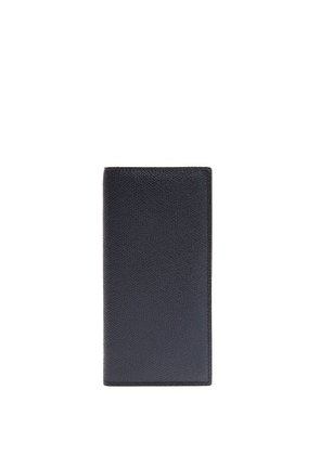 Valextra - Vertical Bi Fold Grained Leather Wallet - Mens - Navy