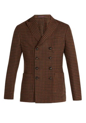The Gigi - Ziggy Houndstooth Double Breasted Blazer - Mens - Brown Multi