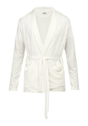 Hecho - Open Front Linen Cardigan - Mens - Ivory