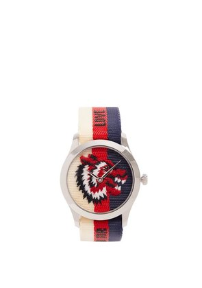 Gucci - G Timeless Web Striped Canvas Watch - Mens - Silver