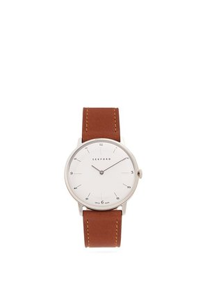 Sekford Watches - Type 1a Stainless Steel And Smooth Leather Watch - Mens - Brown