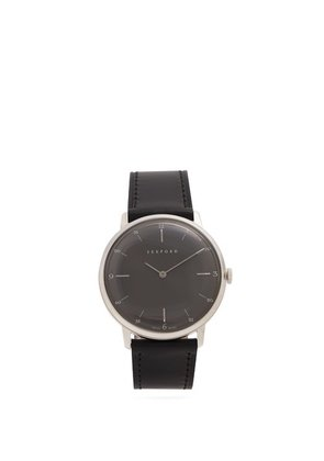 Sekford Watches - Type 1a Stainless Steel And Grained Leather Watch - Mens - Black