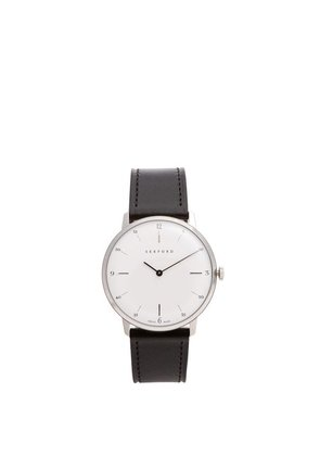 Sekford Watches - Type 1a Stainless Steel And Smooth Leather Watch - Mens - Black White