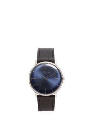 Sekford Watches - Type 1a Stainless Steel And Saffiano Leather Watch - Mens - Black Navy