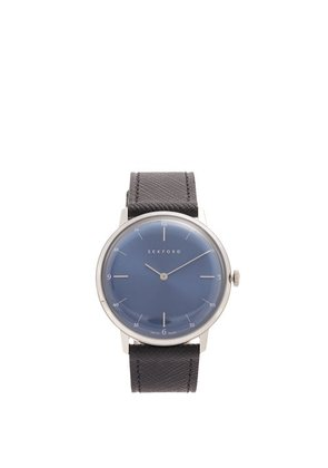 Sekford Watches - Type 1a Stainless Steel And Saffiano Leather Watch - Mens - Blue