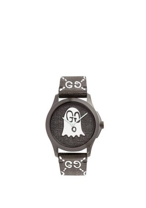 Gucci - Gg Ghost Textured Leather Watch - Mens - Black Multi