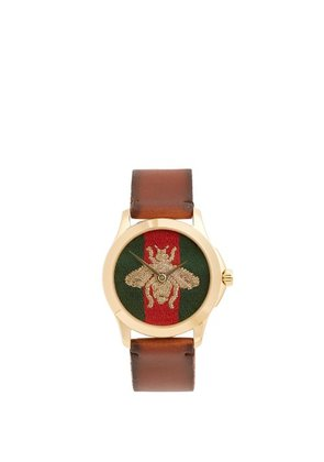 Gucci - Bee Embroidered Watch - Mens - Brown Multi