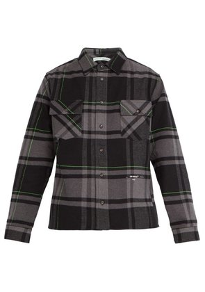 Off-white - Checked Brushed Cotton Blend Twill Shirt - Mens - Grey