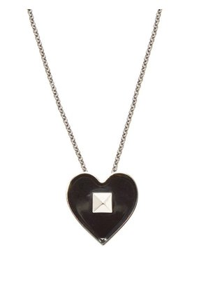 Valentino - Rockstud Heart Necklace - Mens - Black