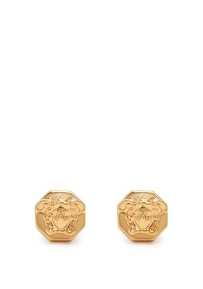 Versace - Medusa Gold Tone Stud Earrings - Mens - Gold