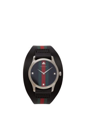 Gucci - G Timeless Web Leather Watch - Mens - Black Green