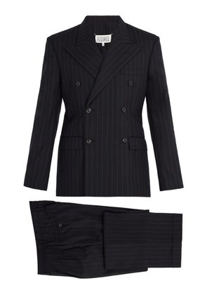 Maison Margiela - Pinstripe Double Breasted Suit - Mens - Navy