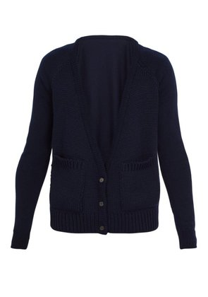Bless - Patch Pocket Wool Cardigan - Mens - Navy