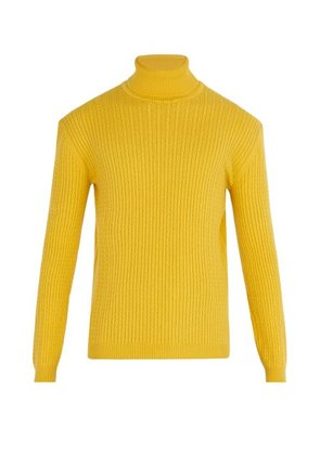 Gucci - Cable Knit Cashmere Roll Neck Sweater - Mens - Yellow
