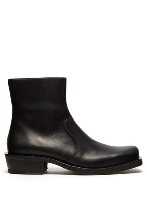 Acne Studios - Square Toe Leather Ankle Boots - Mens - Black