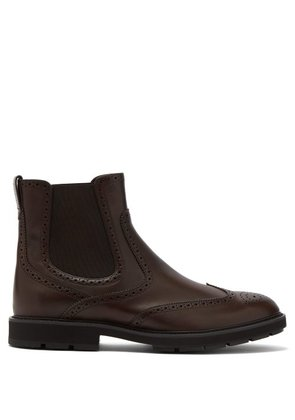 Tod's - Leather Brogue Chelsea Boots - Mens - Brown