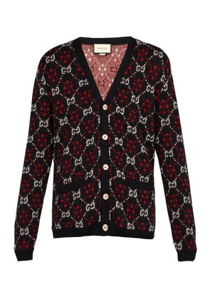 Gucci - Gg Alpaca And Wool Blend Cardigan - Mens - Black Red