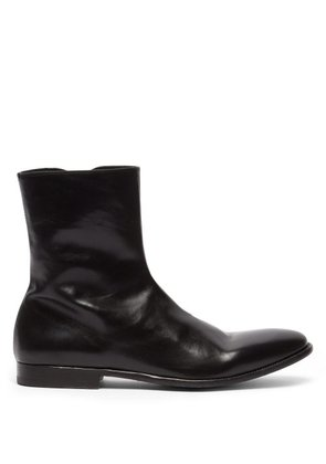 Alexander Mcqueen - Washed Leather Ankle Boots - Mens - Black