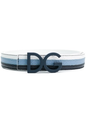 Dolce & Gabbana logo buckle striped belt - Blue