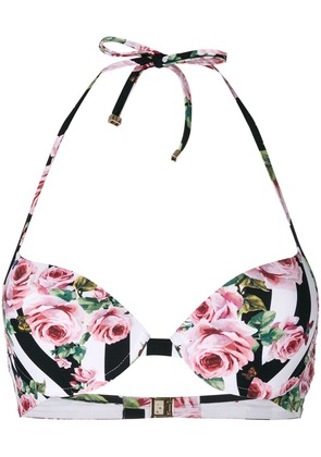 Dolce & Gabbana striped rose print bikini top - Pink