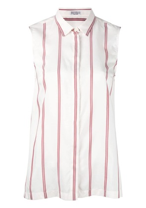 Brunello Cucinelli striped tank top - White