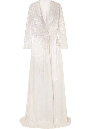 Jenny Packham - Sophia Satin-trimmed Sequined Silk Wrap Gown - Ivory