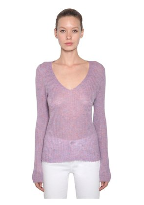 V NECK MOHAIR BLEND RIB KNIT SWEATER